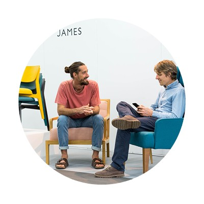 James on the James UK stand exhibiting furniture designs and talking to a buyer at the design show